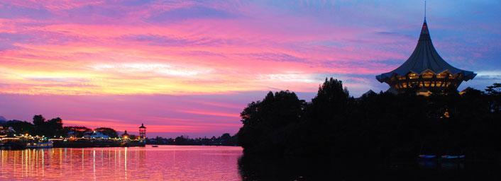 Sunset at the Kuching Riverside Esplanade, Malaysia